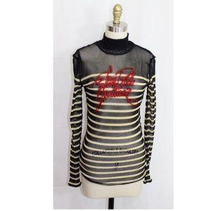 Jean Paul Gaultier graphic mesh turtle neck